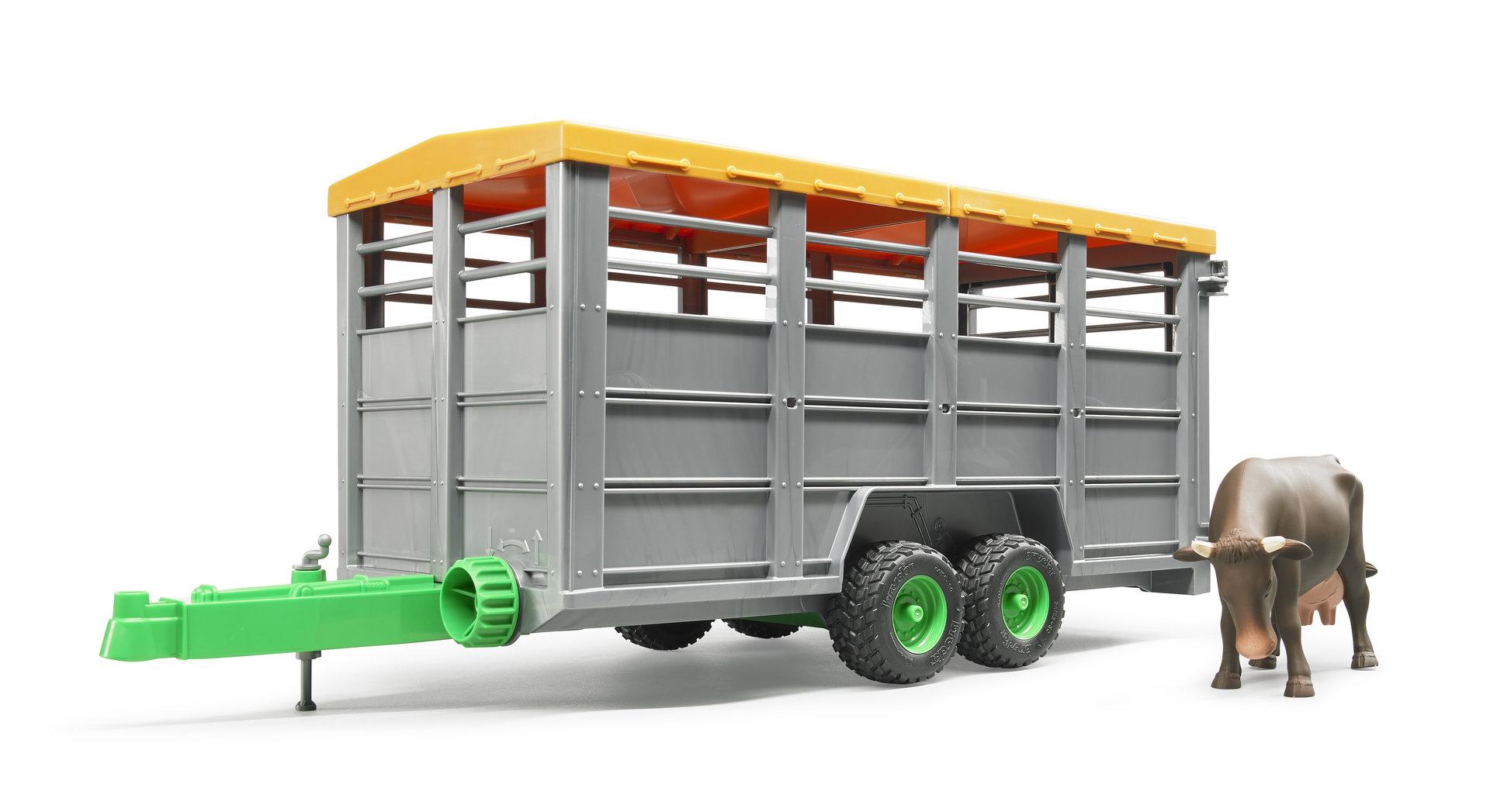 Anhänger Bruder Viehtransportanhänger mit 1 Kuh mit abnehmbaren Dach Spielzeug NEU