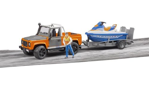 Land Rover Defender mit Watercraft Boot